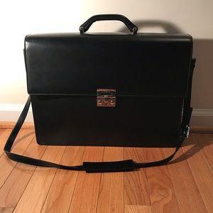 FERRAGAMO Black Box Leather Briefcase Work Bag